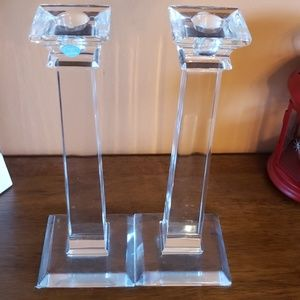 Tiffany and co crystal candle sticks. Set of 2